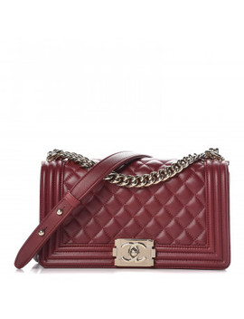 Chanel Lambskin Quilted Medium Boy Flap Dark Red by Chanel