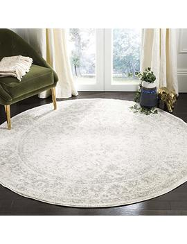 Safavieh Adirondack Collection Adr109 C Ivory And Silver Oriental Vintage Distressed Round Area Rug (4' Diameter) by Safavieh