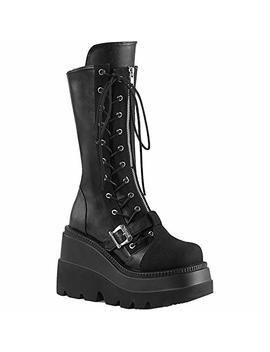 Demonia Women's Shaker 71 Wedge Platform Mid Calf Boot Black by Demonia