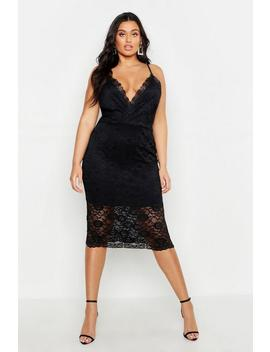Plus Lace Plunge Midi Dress by Boohoo