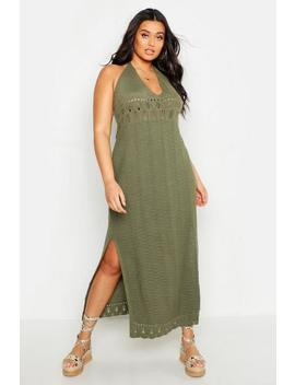 Plus Crochet Halter Neck Maxi Dress by Boohoo