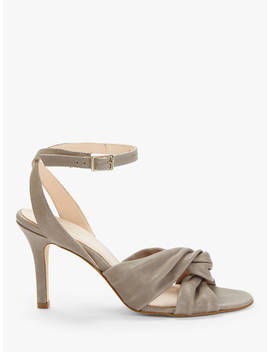 Modern Rarity Mari Knotted Heeled Sandals, Grey Leather by Modern Rarity