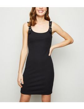 Black Buckle Ribbed Mini Dress by New Look
