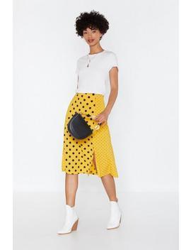 Dot My Fave Skirt Slit Midi Skirt by Nasty Gal