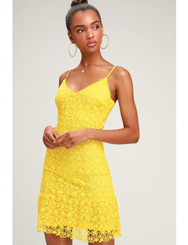 Call For A Toast Bright Yellow Lace Ruffled Mini Dress by Lulus