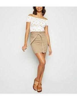 Stone Denim Paperbag Mini Skirt by New Look