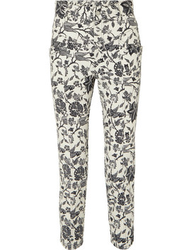 Lorrick Cropped Floral Print High Rise Skinny Jeans by Isabel Marant