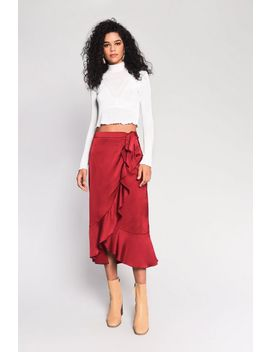 **Satin Wrap Skirt By Glamorous by Topshop