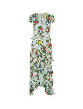 Ruffle Floral Midi Dress by Warehouse