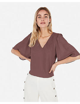 Strappy Banded Bottom Flutter Sleeve Blouse by Express