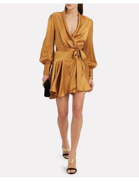 Gold Wrap Mini Dress by Zimmermann