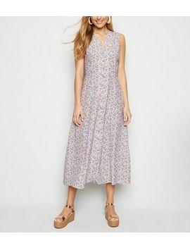 Light Grey Ditsy Floral Sleeveless Midi Dress by New Look