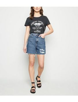 Blue Vintage Wash Ripped Mom Shorts by New Look