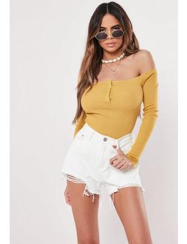 Mustard Yellow Popper Knitted Bardot Bodysuit by Missguided