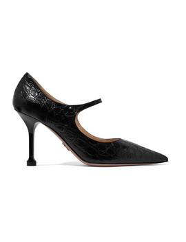 90 Croc Effect Leather Mary Jane Pumps by Prada