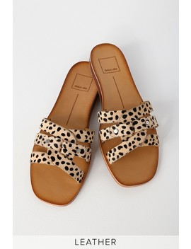 Cait Leopard Calf Hair Flat Sandals by Dolce Vita