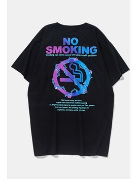 Anti Smoking Slogan Skater Fit Loose  Tee In Black by Now Millennial