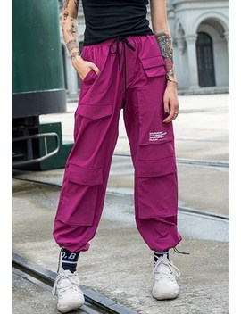 Festival Multi Pocket Long Laced Skater Joggers In Purple by Now Millennial