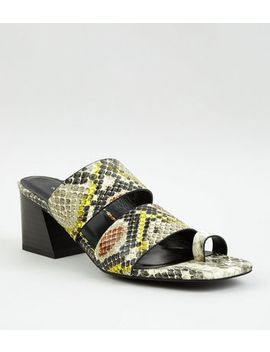 Yellow Faux Snake Toe Loop Heeled Mules by New Look