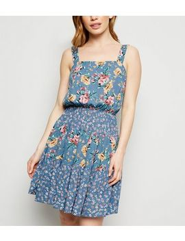 Petite Blue Floral Tiered Mini Dress by New Look