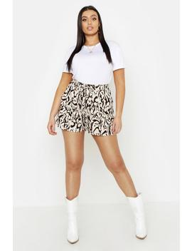 Plus Woven Leopard Runner Short by Boohoo