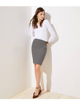 Petite Striped Pull On Pencil Skirt by Loft