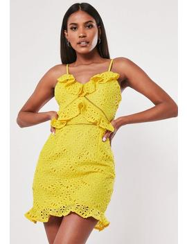 Yellow Broderie Anglais Mini Dress by Missguided