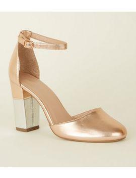Rose Gold Metallic Contrast Block Heels by New Look