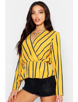 Woven Stripe Plunge Blouse by Boohoo