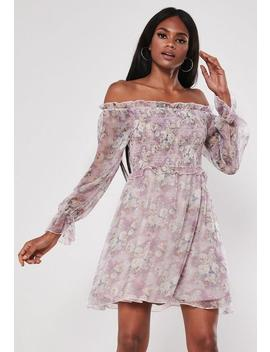 Purple Floral Frill Shirring Skater Dress by Missguided