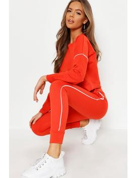 Raw Edge Cropped Sweat & Piping Detail Jogger Set by Boohoo