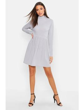 Tall Turtle Neck Rib Smock Dress by Boohoo