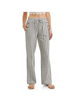 Juniors' Stripe Drawstring Cropped Linen Wide Leg Pants by Derek Heart