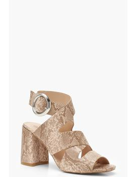 Multi Strap Snake Block Heels by Boohoo