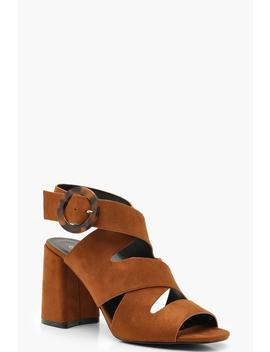 Multi Strap Tortoise Buckle Block Heels by Boohoo