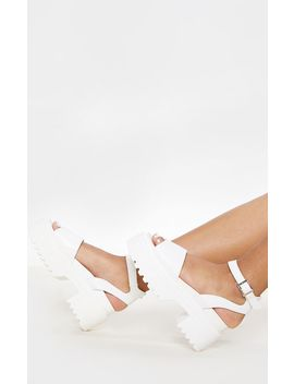 White Chunky Sandal  by Prettylittlething