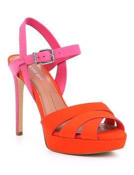 Jovannaa Leather Colorblock Banded Dress Sandals by Gianni Bini