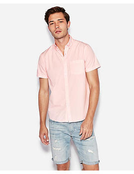 Classic Garment Dyed Button Down Short Sleeve Shirt by Express