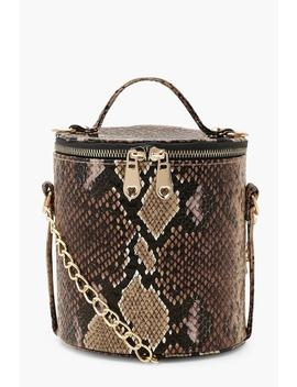 Faux Snake Cylinder Handle Cross Body Bag by Boohoo