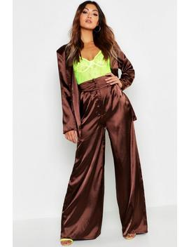 Satin Wide Leg Button Detail Wide Leg Trouser by Boohoo