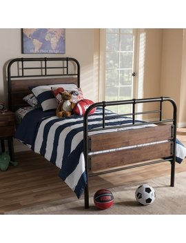 Industrial Metal And Wood Twin Size Platform Bed By Baxton Studio by Baxton Studio