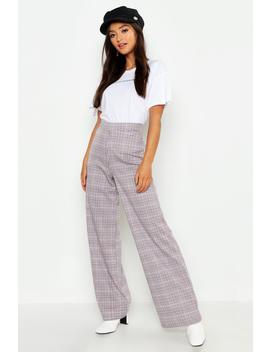 Petite Check High Waist Straight Leg Trouser by Boohoo