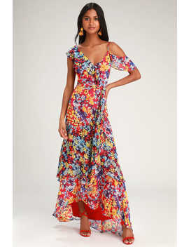 Radiant Ruby Red Floral Print Chiffon Maxi Dress by Lulus
