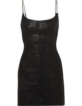 Chain Trimmed Coated Cotton Blend Tweed Mini Dress by Alexander Wang