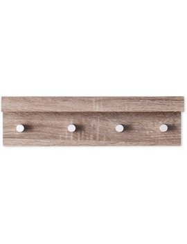 Oscar Wall Mount Shelf With Hangers, Grayed Oak by Southern Enterprises
