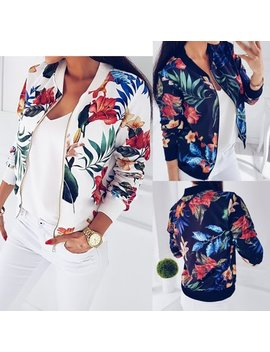 Fashion Womens Ladies Retro Floral Zipper Up Bomber Jacket Casual Coat Outwear by Urkutoba
