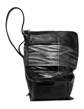 Paneled Coated Cotton, Smooth And Textured Leather Bucket Bag by Rick Owens