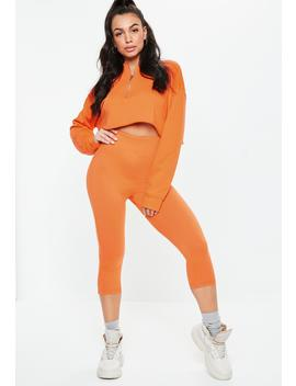 Orange Cropped Co Ord Leggings by Missguided