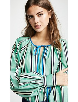 Striped Tie Neck Blouse by Anna October