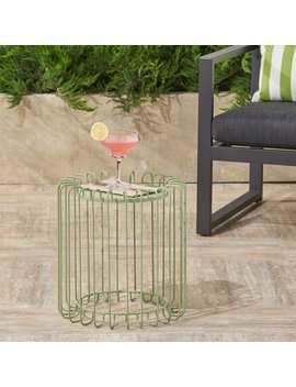 Madison Outdoor 16 Inch Metal Side Table,Green by Noble House